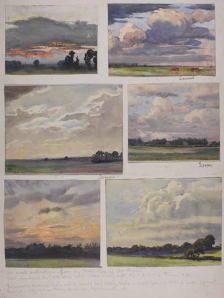 Watercolour sketches by Spradbery, produced during WW1 in the area around the Somme