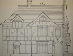scale drawing of the sun street facade of 39 and 41 sun street