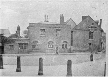 Waltham Abbey volunteer fire brigade and old police station and leverton school on the site of the present town hall c.1895