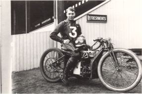 Portrait of Jack Chiswell, a speedway rider who rode at High Beech speedway circuit