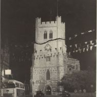 Waltham Abbey church decorated for coronation