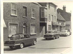 Row of buildings including bakery on north side of Sun Street, Waltham Abbey