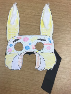 Easter Bunny Mask Example photo with ears and handle